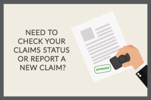 Need to check your claims status or report a new claim graphic